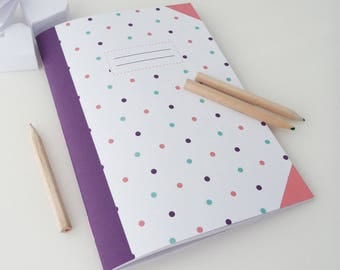 Notebook 14x20cm 56 pages with purple, blue and pink polka dots