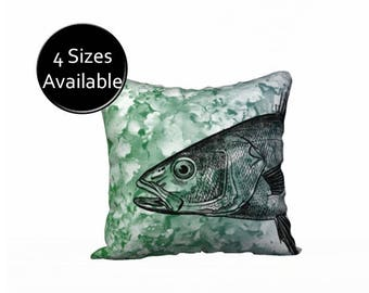 Fish Pillow, Printed Cover Case, Square Oblong Rectangular Lumbar, Velveteen or Canvas, Decorative Throw Pillow Sham, Green and Black