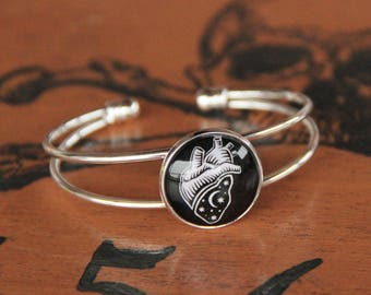 Cosmic Heart silver plated Bangle Bracelet