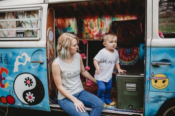 SET, PEACE Tees for Mama and Mini, Peace Tshirts, Pece Shirts, Hippie Tshirts, Hippie Tees