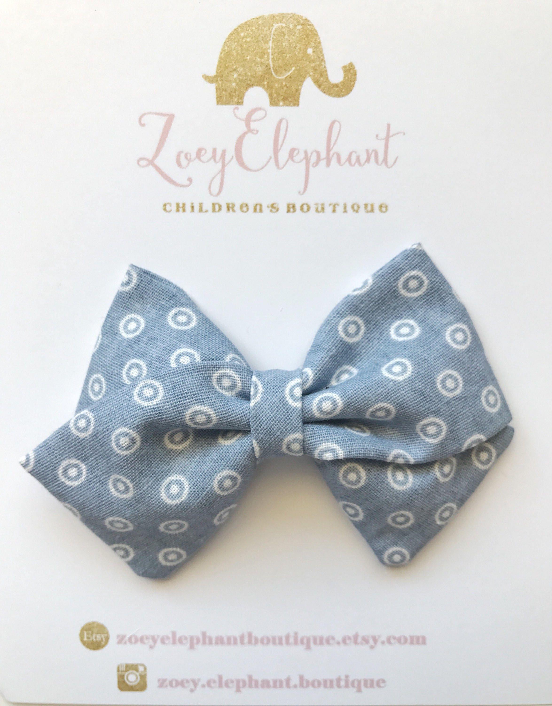 cb784dcc74a9 Blue Dot Bow, Fabric Bow Headband, Fabric Bow Hair Clip, Non Slip Clip