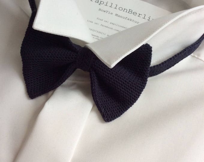 Knit tie, 100% silk, dark blue/navy
