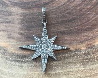 Pave diamond star pendant, pave diamond star pendant, sterling silver and diamond pendant, interchangeable necklace