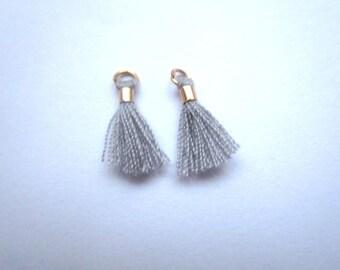 Set of 2 mini grey tassel