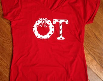 SALE OT Wreath Vneck Shirt
