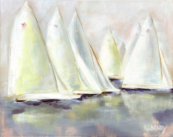 Star Sails Sunset: Sailboat print from original sailing painting