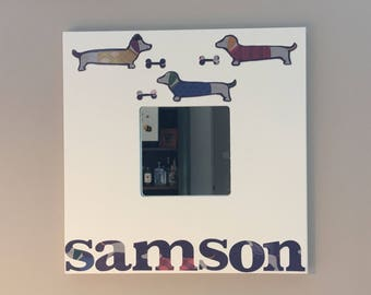 Personalised mirror - with dog and bone motif