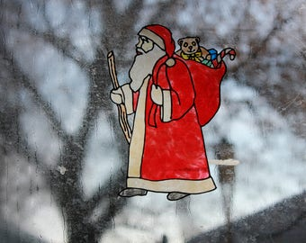 Vintage Santa handmade Window Cling