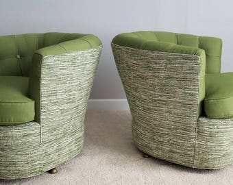Mid Century Barrel Chairs, Vintage Club Pair with Swivel Base