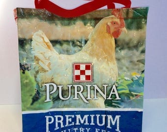 Poultry Upcycled Purina Layena Chicken Market Tote Bag Chicken Upcycled Tote Bag, Upcycled Market Tote, Repurposed Tote, Upcycled Feed Bag