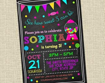 Candy Chalkboard Invitation - Gumball Machine Sweets Birthday Party Invitation - Birthday Party Invite - Digital Customized