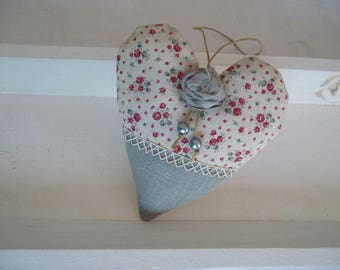Romantic heart linen and liberty fabric pink shabby