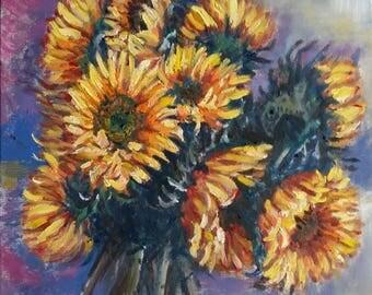 "Original Oil Painting, Sun Flower, 20""x16"", 171016,"