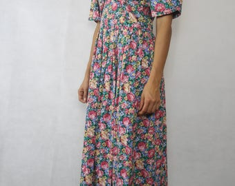 VINTAGE 80s Colourful Floral Cotton Dress Size XS 8