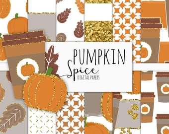Pumpkin Spice Digital Paper Pack | Scrapbook Paper | Printable Background | 12 JPG, 300dpi files.