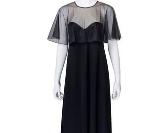 Elegant Black Long Dress w Sheer Black Overlay