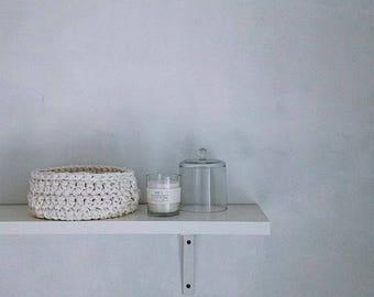 Handmade crochet basket - off white storage basket - bathroom organization