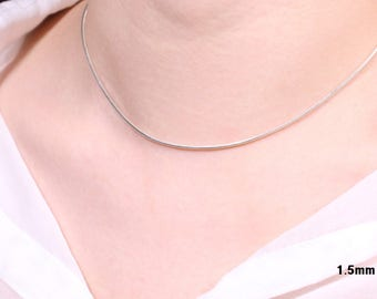 0.8, 1.0, 1.5mm Simple Silver Choker Necklace, Dainty Choker Necklace, Silver Chain Necklace, Thin Chain Necklace, Silver Layered Necklace
