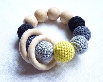 Grey teething ring / Wooden teether / Baby teething bracelet / Organic Teething Toy / Crochet Teething bracelet / nibble toy / infant rattle