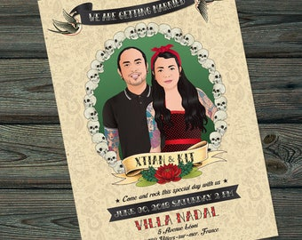 Wedding Portrait Illustration, Wedding Invitation, Wedding gift, Save the Date,Couple Portrait, wedding portrait tattoo card, Skulls border
