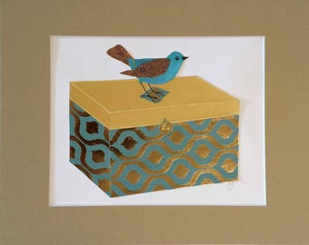 Original paper collage matted for hanging -- Boxes Series 2017 #13 - Bird Wall Art in Gold and Blue