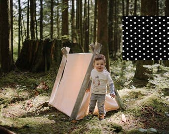 Play A-Frame Tent Teepee Black and White Polka Dot Rustic Distressed