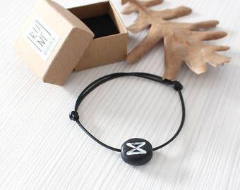 Rune Bracelet/ Men Bracelet/ Women Rune Bracelet/ Black Rune/ Futhark Rune/ Fashion Bracelet/ Minimal Bracele