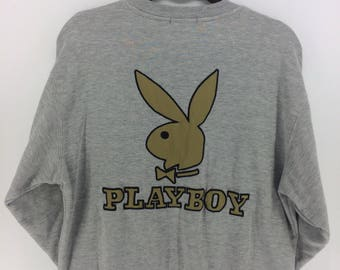 Vintage 90's Playboy Rare Classic Design Skate Sweat Shirt Sweater Varsity Jacket Size L #A848