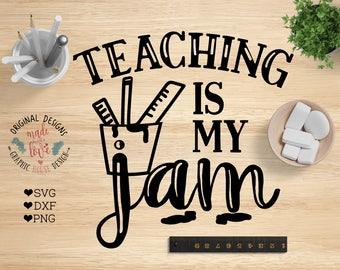 Teaching is my jam svg cut file, teaching svg, teachers svg, school svg, learning cut file, teachers cut file, teaching jam svg, cricut