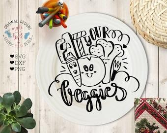 Vegetarian SVG File, Eat your Veggies Cut File in SVG, DXF, png, Veggies t-shirt design, Food svg file, Kitchen svg, Healty eating quotes