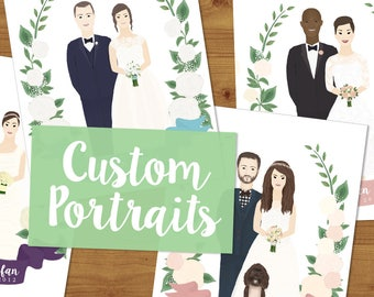 Custom Wedding Portrait Illustration - Couple Drawing - Wedding Invitation - Couple Portrait - Wedding Gift - Bespoke Portrait Illustration