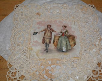 Victorian hand painted on silk & edged with lace Doily