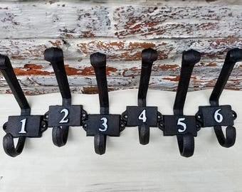 Cast Iron Double Hook Numberd Set 1-6 for Farmhouse Projects Furniture Makers