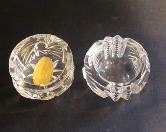 2 Vintage Genuine 24% Lead Crystal Pinwheel Design Open Salt Cellars