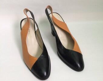 vintage two tone mustard orange  and black slingback heels, size 6.5 / 7