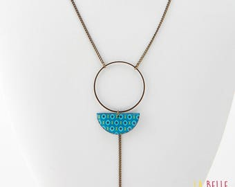 Necklace long pendant half resin Moon blue vintage pattern