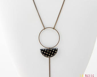 Necklace long pendant half resin Moon Black polka dot pattern