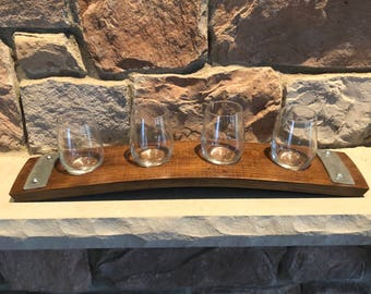 Wine Flight Tray Made From Reclaimed Wine Barrel Stave - Includes 4 Wine Tasting Glasses