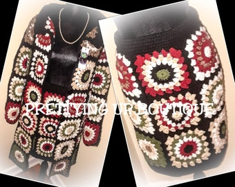 Cardigan (Granny Square) Suit/Multicolored Cardigan And Skirt/Elastic Waistband For Skirt/Cardigan Has 6 Buttons On Front