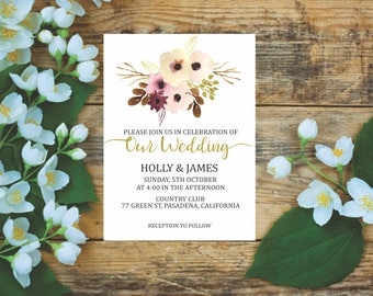 Digital printable wedding invitation.