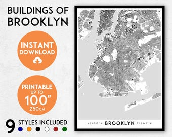 Brooklyn map print, Printable Brooklyn map art, Brooklyn print, New York print, NYC map, Brooklyn art, Brooklyn poster, Brooklyn wall art