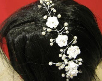 NEW - Bridal Vine/Comb with Crystals, Beads, Pearls, and Porcelain Flowers