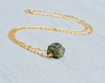Raw Pyrite cube necklace