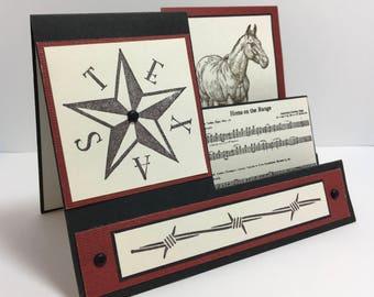 Side Step Card, Stair Card, Western Card, Horse Card, Texas Card, Handmade Card