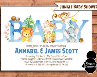 Jungle Baby Shower Invitation. Jungle Baby Shower. Party Supplies