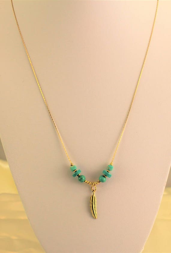 "Bohemian chic necklace plated gold ""Feather"" with turquoise"