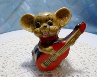 Vintage Ceramic Mouse Playing a Guitar Ornament/Figurine