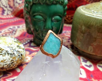 Amazonite Ring with Braided Copper Band