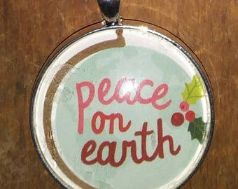 Peace On Earth Necklace - Christmas Necklace - Pendant Necklace - Christmas Gift