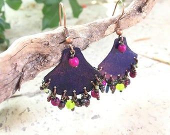 Earrings were hippie Bohemian enameled flashy neon handmade